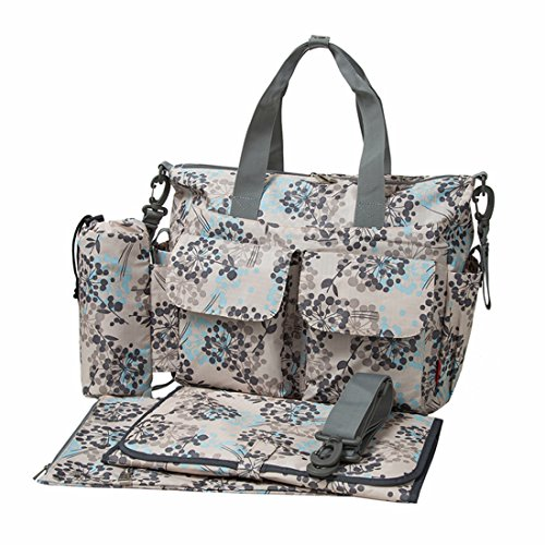 ECOSUSI Handy Baby Nappy Changing Bags Wipable Totes 4pcs Deluxe Changing Tote Mummy Handbags Gray Dot