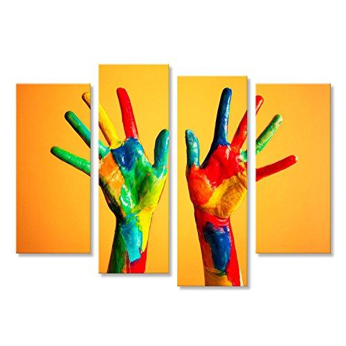 Islandburner quadro moderno mani dipinte, colorato divertimento creativo, divertente e felice artistica stampa su tela - quadro x poltrone salotto cucina mobili ufficio casa - fotografica formato xxl