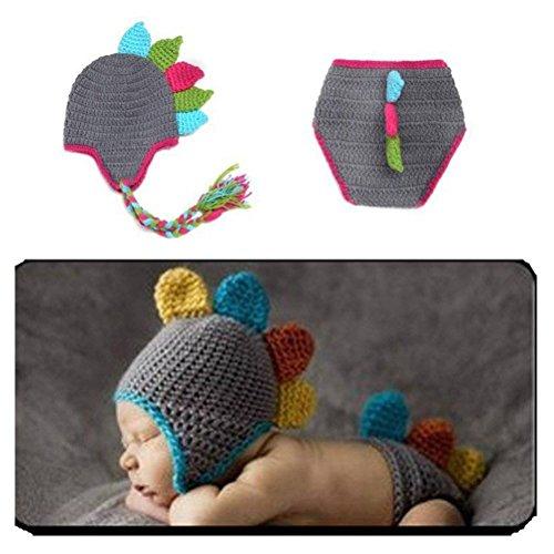 Dinosaurier 3 Kostüm - DAYAN weiche handgemachte Häkelarbeit-Knit Baby-Foto Requisiten Netter grauer + Lace Dinosaur Anzug, Dinosaurier-Kostüm für Baby (0-6 Monate)