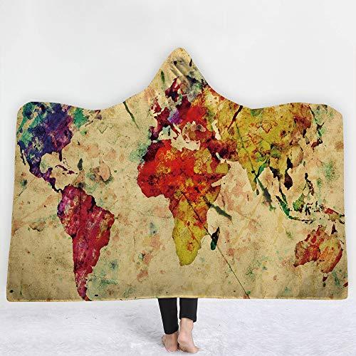 Puurbol Mapa Encapuchado Mantas Pare Cama Lana Suave Calentar Usable Capa Lanzar para niños Adultos por PYHQ-UK