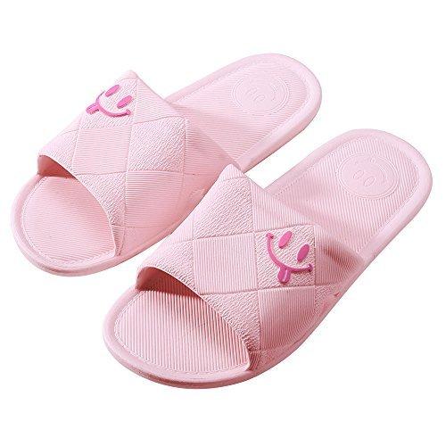 WILLIAM&KATE Pantofole da Bagno Antiscivolo da Donna e da Uomo Open-Face Happy Smile Soft Sandali da Doccia Suola IND5uZY