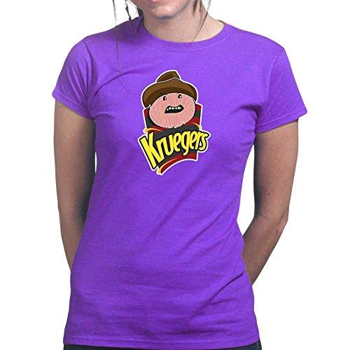 Womens Freddy Krueger Chips Halloween Mask Ladies T Shirt Tee, Top Purple