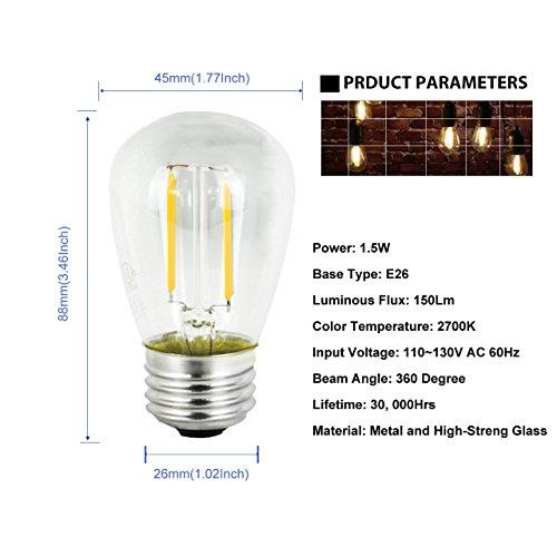 BRTLX Bombillas LED E27 Filamento 1.5W equivalente a 11 W 150 lúmenes 2700K Blanco Cálido AC220 360° Ángulo del Haz No regulable Pack de 15