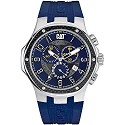 CAT Navigo Carbon Chrono Men's Quartz Watch with Blue Dial Analogue Display and Blue Silicone Strap A5.143.26.616
