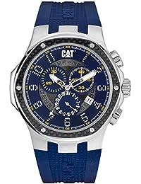 CAT Navigo Carbon Chrono Men's Quartz Watch with Blue Dial Analogue Display and Blue Silicone Strap A5.143.26.616