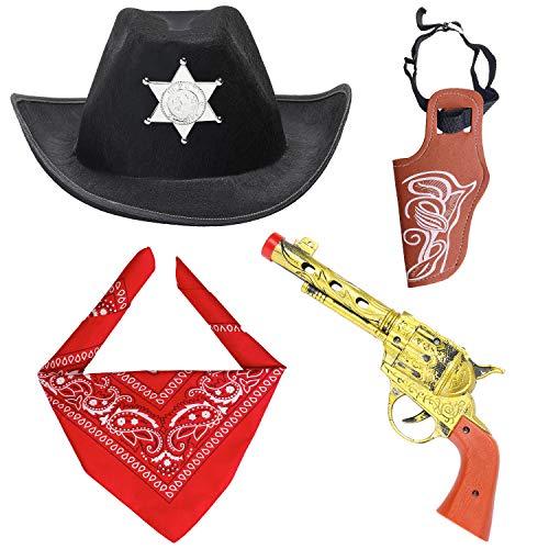 Zubehör Holster Kostüm - Beefunny Western Cowboy Kostüm Zubehör 3 Stück Set Kostüm Cowboy Hut, Bandana & Pistole und Holster Set Wild West Zubehör (Schwarz)
