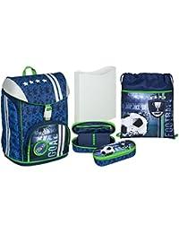 Preisvergleich für Schulranzen Schulrucksack Set Football Fußball FlexMax 5 teilig