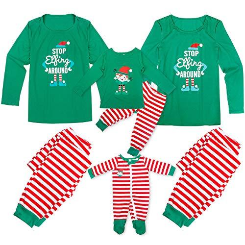 Tianhaik Pijamas Navidad Familia Manga Larga navideños