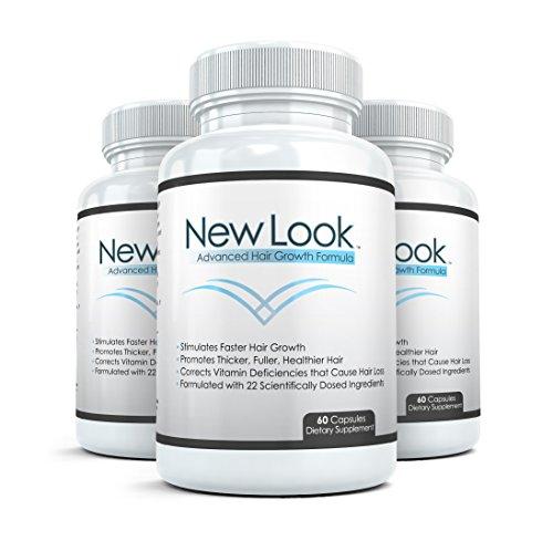 NEW LOOK Premium les cheveux, la peau & ongles Supplément (3 bouteilles) - Avancé beauté formule pour une belle peau, poils et sains et forts clous - 90 gélules par bouteille