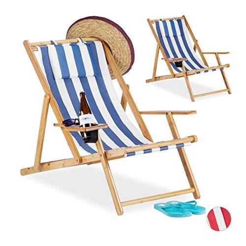 Relaxdays Set 2 sedie, Sdraio Mare con Porta Bevande, in bambù, Braccioli, Richiudibile, Blu