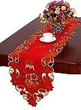 Runner da tavola di Natale e sciarpa ricamato campane candele e Poinsettia 38,1x 304,8cm, 15 X 120 inch