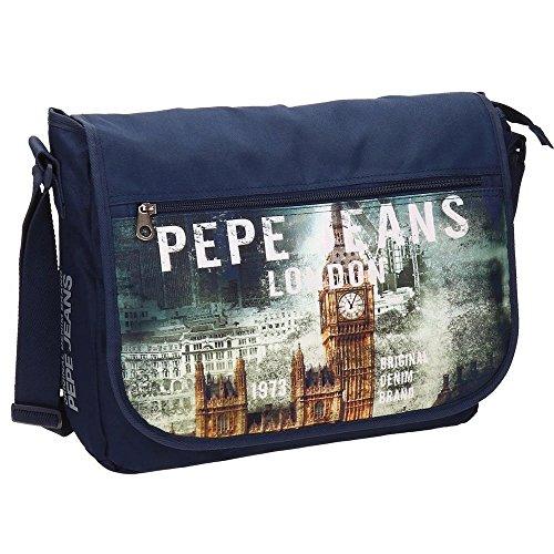 Pepe Jeans Carterón Portaordenador, Diseño London, Color Azul, 11.78 Litros