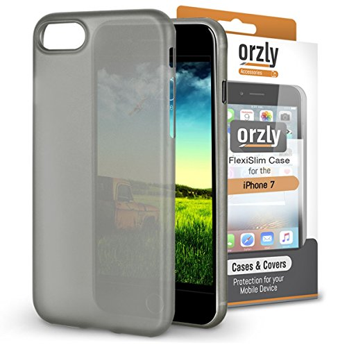 iPhone 8 Case, Orzly® - Funda FlexiSlim ULTRA FINA (0,24mm) para Apple iPhone 8/iPhone 7 (4,7 Pulgadas) - Funda Semi Transparente en NEGRO [Compatible con carga inalámbrica]