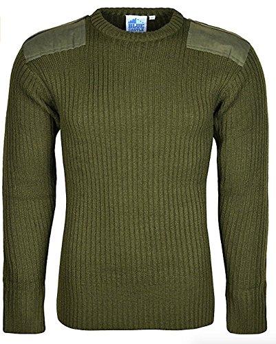 Herren-Armee-Pullover, Rundhalsausschnitt, lange Ärmel, Strick Gr. M, olivgrün -