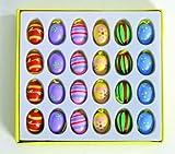 Geschenkidee Deko Ostern - BUSDUGA Ostereier 24er Set aus Holz handbemalt (Ostern)