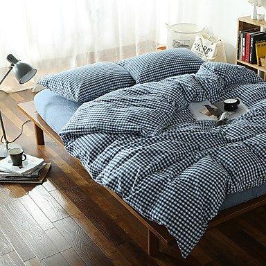 WYFC Dunkel Blaue Plaid gewaschen Baumwolle Bettwäsche-Sets Königin König Größe Qualitaeten 4pcs Bettdecke abdecken festlegen Queen