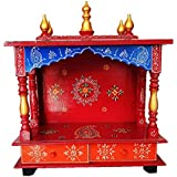 Pranjals House Wall Hanging Wooden Temple for Office & Home (Red & Blue)