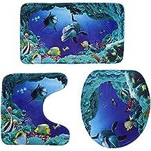 LUOEM 3pcs Badezimmer Garnitur Badezimmer Teppich Set