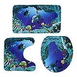 BESTOMZ 3pcs/Set Ozean Stil Unterwasser Welt Delphin Carpe WC-Matte,Badezimmer-Set, Badematte + WC-Vorleger + WC-Deckelbezug