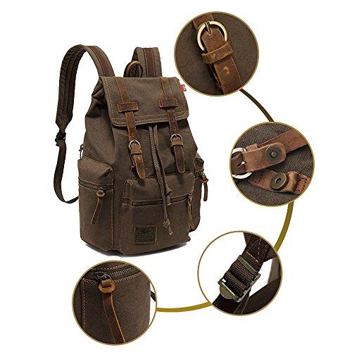 Alando vintage Canvas Rucksack Damen Herren Rucksäcke Retro Schulrucksack Backpack Daypack für Uni, Wandern, Outdoor Sport, freizeit, Einkaufen mit der großen Kapazität (Kaffe) Hellgrün