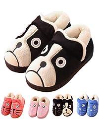 Zapatillas de Estar por casa para Niñas Niños Invierno Suave Algodón Casa Zapatos Pantuflas con Comodidad Antideslizante Zapatillas de Mujer Hombres