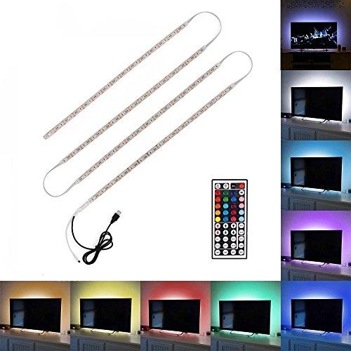 Minger 4x 50cm Ruban à LED RGB / RVB Bande Strip Flexible IP65 Etanche SMD 5050 Avec 5V USB Câble et 44 Touches Télécommande pour Décoration TV Derrière, Ordinateur, etc.