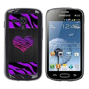 TopCaseStore / Snap On Gummi Schwarz Schutz Hülle Case Cover - Stripes Heart Brushed Metal Purple - Samsung Galaxy S Duos S7562