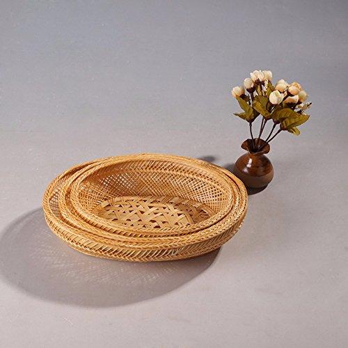 SSBY Bambù vassoio di frutta storage ornamento casella tray di storage domestico,vassoio ovale