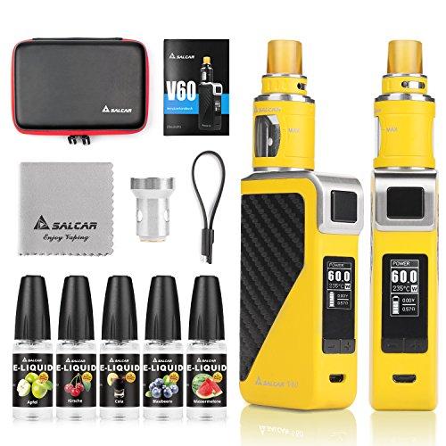 Salcar V60 E Zigarette/E Shisha Starterset und 5x10ml E liquid || V60 Mod Kit mit 2200mah Akku + 2.0ml Top Refill Verdampfer + 0.5 Ohm Verdampferköpfe, 0,0mg Nikotin (Gelb)