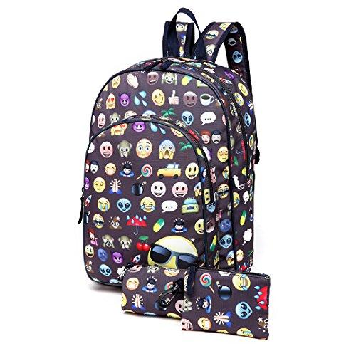 Miss Lulu Boys Girls Kids Cute School Backpack Rucksack Daypack Travel Backpack Satchel Pencil Case Bag 3 pieces Set (Beige) Grigio Línea Oficial AJnlSR