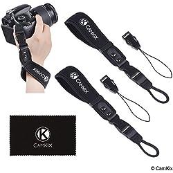 Dragonnes pour appareils Photo Reflex numérique et appareils Photo compacts - Ensemble de 2 - Très Solides et durables - Bracelet en néoprène Confortable - Attachement Ajustable - Attache Rapide