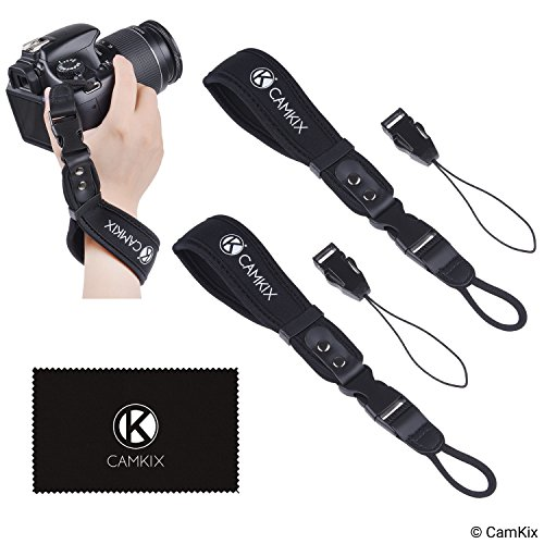 dslr handschlaufe Handschlaufen für DSLR und Kompaktkameras - 2er-Pack - Extra stark und langlebig - Bequemes Neopren-Armband - Verstellbare Passform - Schnellverschluss Clip - Zusätzliche Haltebänder + Reinigungstuch