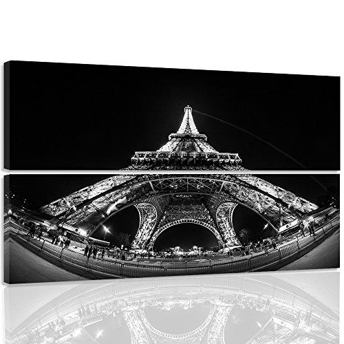 Bilder, Wand Bild - 2 Teile - rechteckige Form, Wandbilder, Kunstdruck 150x100 cm, EIFFEL TOWER, PARIS, ARCHITEKTUR, SCHWARZ UND WEIß (Eiffel Tower Home Decor)