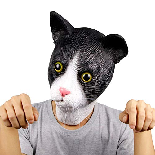 Nette Katze Maske, Kostüm Party Latex schwarze Katze Maske Halloween Neuheit Tier Maske