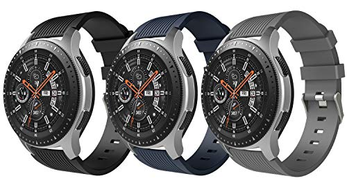 TiMOVO Band for Samsung Galaxy Watch 46mm, [3-PACK] Soft Silicone Strap Fit Samsung Gear S3 Classic/Garmin Vivomove/Moto 360 2nd...