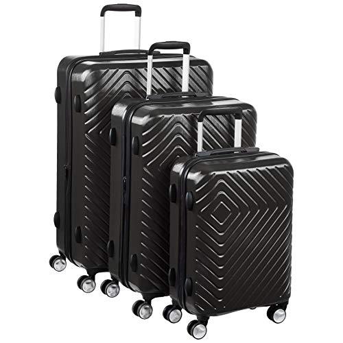 AmazonBasics Valise à motif géométrique - Lot de 3 (55 cm, 68 cm, 78 cm), Noir