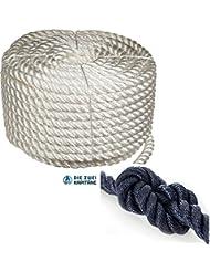 Cuerda de poliéster de 3compartimentos geschlagen, alta resistencia–6hasta 40mm de diámetro en diferentes colores–Solo rollo, gris