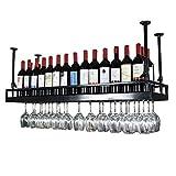 Casier à vin Noir - Support de Verre à vin Suspendu en Fer de Style Moderne Étagère de décoration de Plafond pour Bar, Restaurants, Cuisine ou Cave à vin [Plus de Taille]