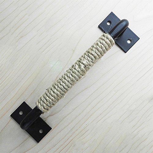 Raing maniglia per porte in corda di canapa in ferro battuto d'epoca mobili per mobili creativi porte in legno decorazione manico in metallo 19cm, nero