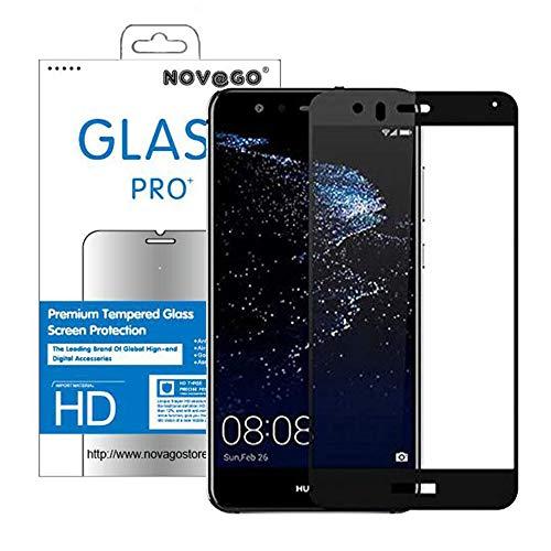 Novago Compatible avec Huawei P10 Lite Film en Verre trempé Solide Couvre la totalité de l'écran (Noir)