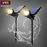 Vorally 6LEDs * 2 luces solares de color blanco cálido con detector de movimiento, IP65 luces de jardín solares con reflector a prueba de agua luz solar exterior, decoración para de jardín, patio etc. (2*6Blanco cálido)