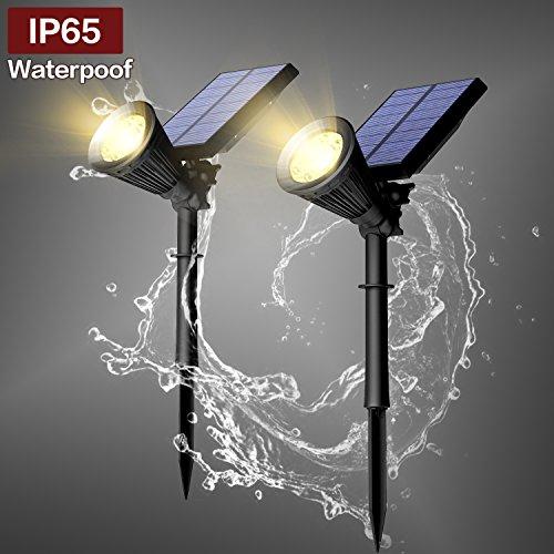 Vorally 6LEDs * 2 Solarleuchten Warmweiß mit Bewegungsmelder, IP65 solar Strahler Gartenleuchten wasserdicht solar aussenleuchte für Garten Deko, Baum, Auffahrt, Yard, Rasen, Hinterhöfe usw.