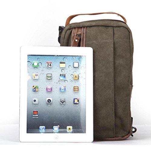 Eshow Herren Canvas Freizeit Tragbar Sportliche Brusttasche Umhägentasche Taschen, Beige Grün