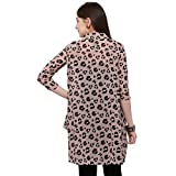 Serein Women's Printed Georgette Long Shrug/Long Jacket with 3/4 th Sleeves (X-Large) Pink