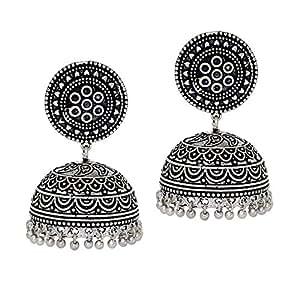 Jaipur Mart Jhumki Earrings for Women (Silver)(GSE481SLV)