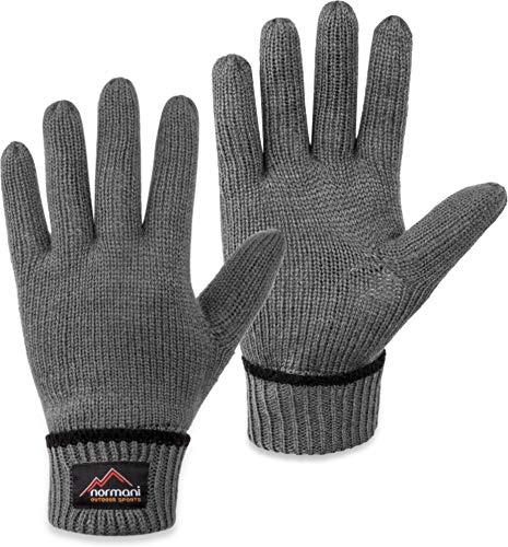 normani Wollhandschuhe Fingerhandschuhe mit Thinsulate™ Thermofutter und Fleece Innenmaterial - Strickhandschuhe für Damen und Herren [XS bis 4XL] Farbe Grau Größe ()