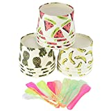 48x Summer Party Fruit Design Ice Cream Tubs w/ Spoons