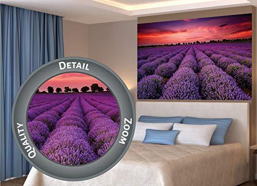 Great Art XXL Poster - Fotoposter Lavendel Feld - Blüten Blumen Natur Violette Landschaft lila Wandposter Zauber der Provence Wandbild Motiv (140 x 100 cm)