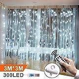 LED Lichtervorhang 3m x 3m, Etmury 300 LEDs USB Lichterkettenvorhang Wasserfest mit Fernbedien 8 Modi Lichterkette Gardine für Party Schlafzimmer...