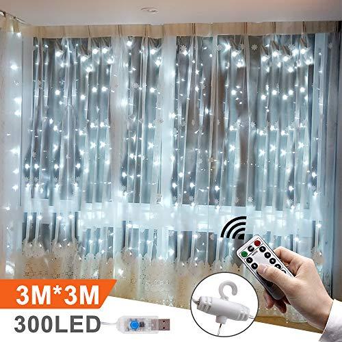 LED Lichtervorhang 3m x 3m, Etmury 300 LEDs USB Lichterkettenvorhang Wasserfest mit Fernbedien 8 Modi Lichterkette Gardine für Party Schlafzimmer Innenbeleuchtung Weihnachten Außen/Innen Deko Weiß